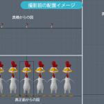3Dソフトシミュレーション:レンズ焦点距離の違いによる圧縮効果の違い