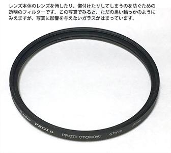レンズ保護用フィルター
