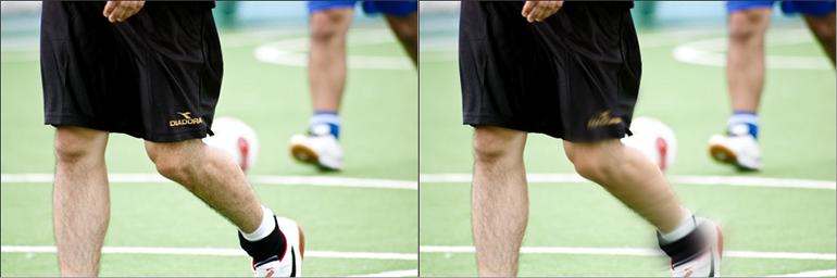 サッカー選手の足のブレ