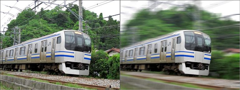 画像の合成:電車の流し撮り風の加工