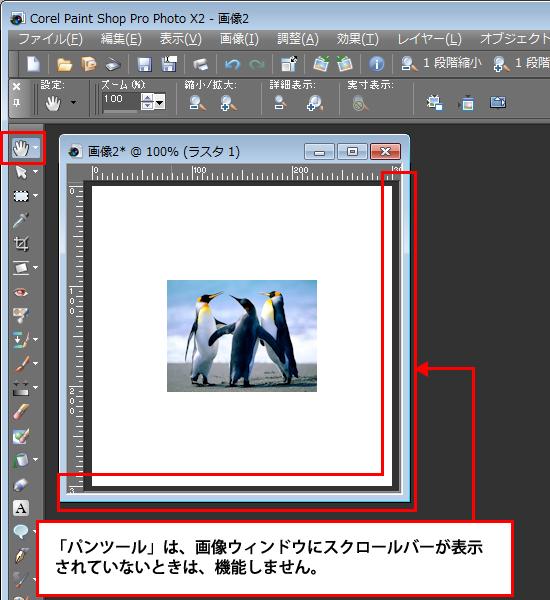 Paint Shop Pro Photo(ペイントショッププロ)-Paint Shop Pro Photo(ペイントショッププロ)-パンツールの使い方1