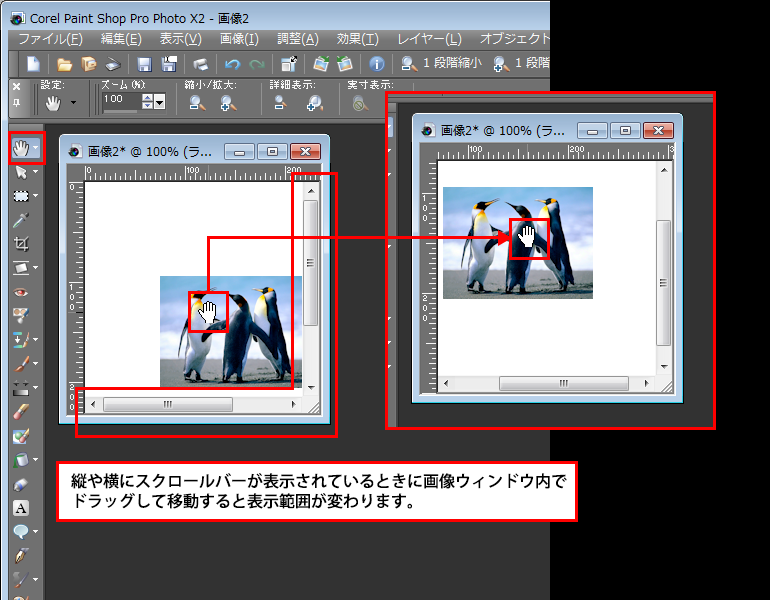 Paint Shop Pro Photo(ペイントショッププロ)-Paint Shop Pro Photo(ペイントショッププロ)-パンツールの使い方2
