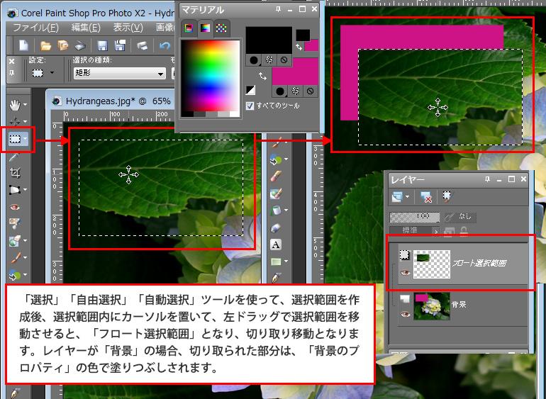 Paint Shop Pro Photo(ペイントショッププロ)-選択範囲作成時の移動トラブル