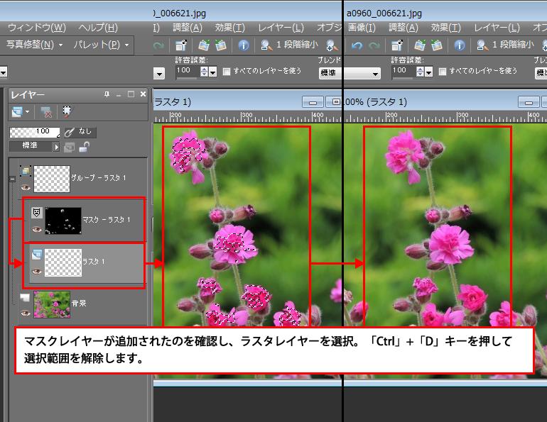 Paint Shop Pro Photo(ペイントショッププロ)-画像の特定の色を選択し、一度で塗りつぶしをする方法4