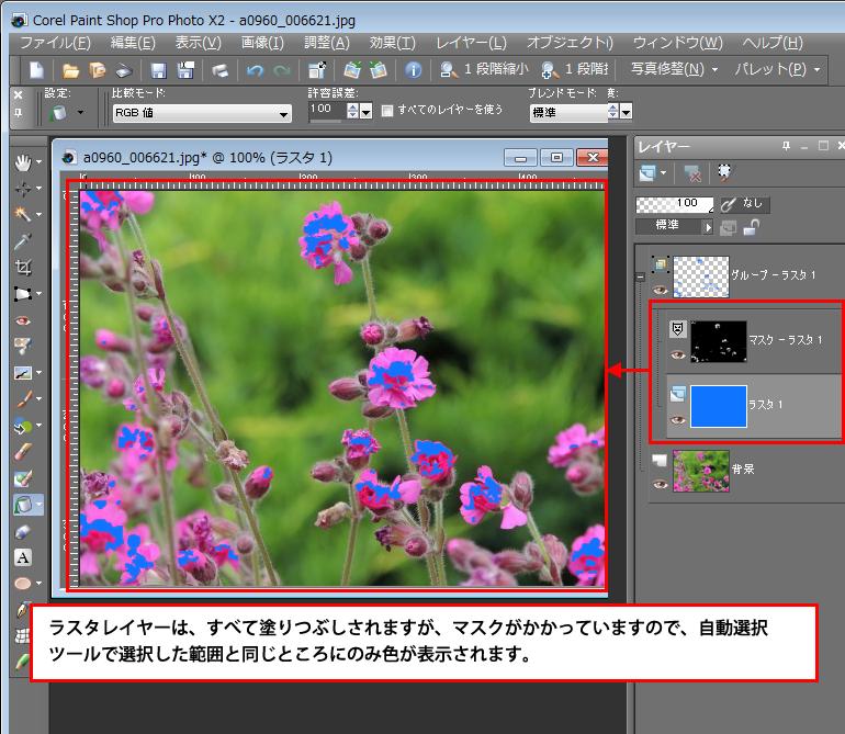 Paint Shop Pro Photo(ペイントショッププロ)-画像の特定の色を選択し、一度で塗りつぶしをする方法5