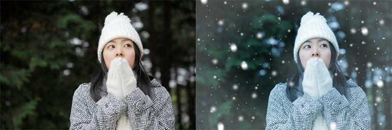 Paintshopで作る雪が降っているようなイメージ