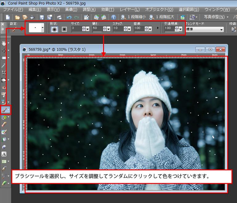 Paint Shop Pro Photo(ペイントショッププロ)-雪が降っているようなイメージを作る方法7