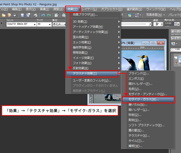 Paint Shop Pro Photo(ペイントショッププロ)-「効果」→「効果」→「テクスチャ効果」→「モザイク - ガラス」の説明。1