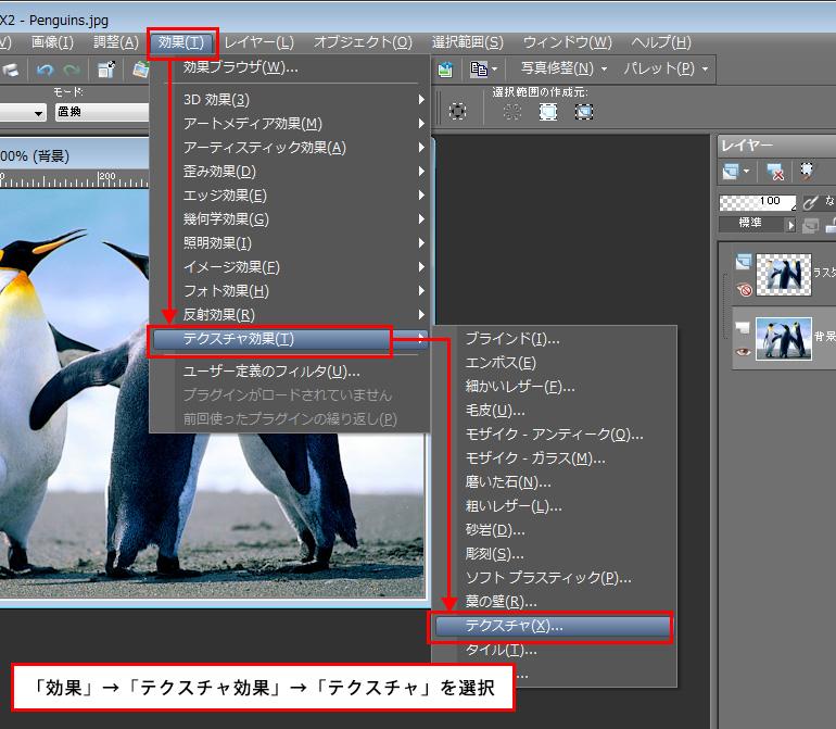 Paint Shop Pro Photo(ペイントショッププロ)-「効果」→「テクスチャ効果」→「テクスチャ」の説明。1