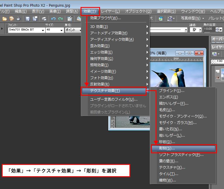 Paint Shop Pro Photo(ペイントショッププロ)-「効果」→「テクスチャ効果」→「彫刻」の説明。1