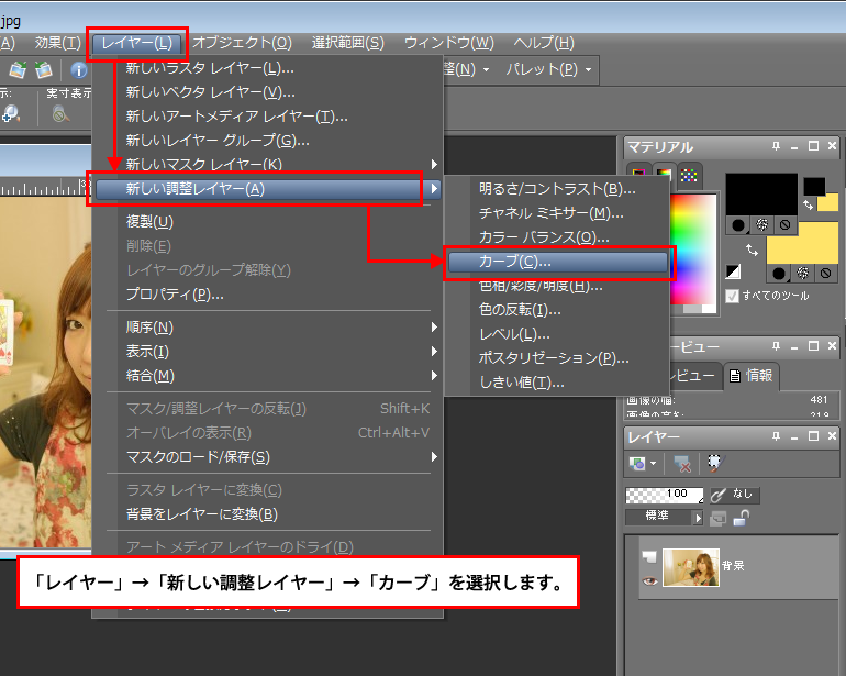 Paint Shop Pro Photo(ペイントショッププロ)-調整レイヤー「カーブ」で画像の色味などを調整する方法2-1