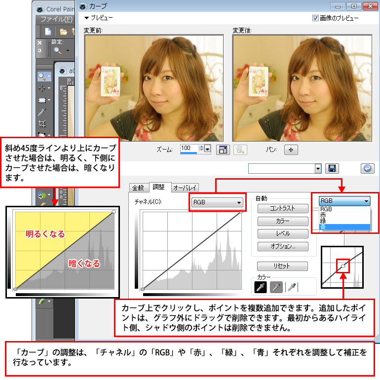 Paint Shop Pro Photo(ペイントショッププロ)-調整レイヤー「カーブ」で画像の色味などを調整する方法3