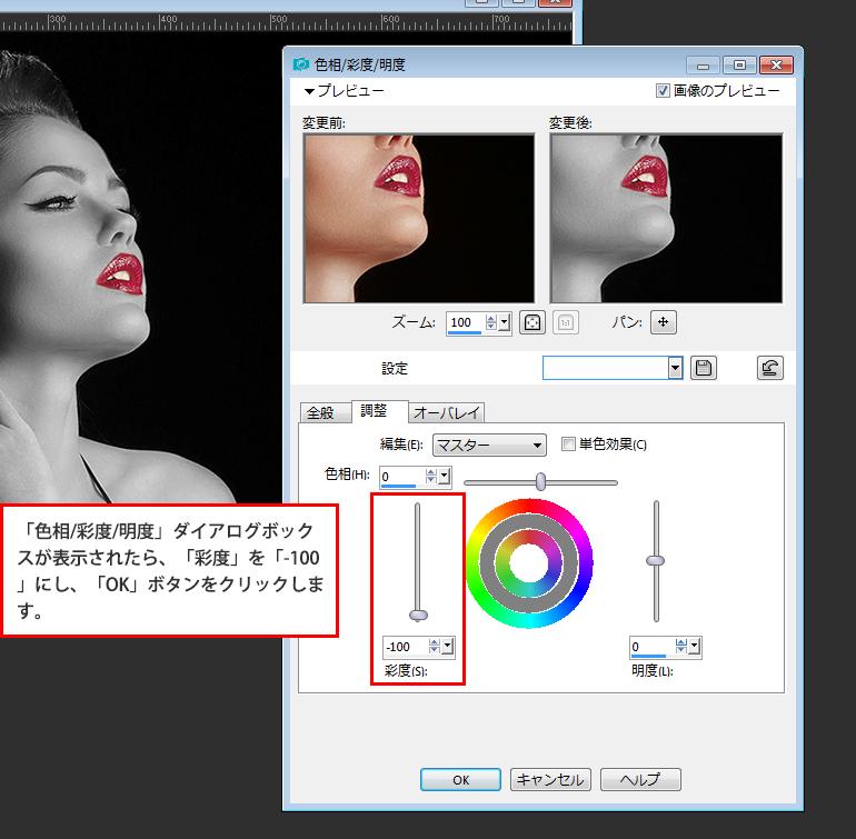 Paint Shop Pro Photo(ペイントショッププロ)-カラー写真を白黒にし、一部だけのカラーを残して印象的な写真にする方法6
