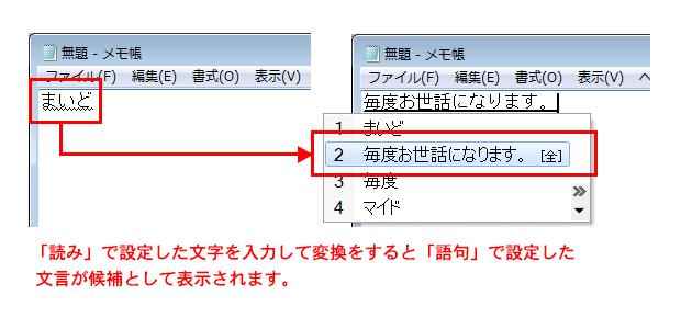 「単語/用例の登録」