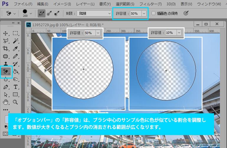 Photoshop CC 背景消しゴムツールで、空などの色が似た領域を簡単に消去