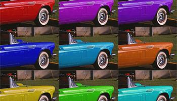 色調補正の調整レイヤー「色相・彩度」を追加し、選択した部分の色を違う色に置き換える