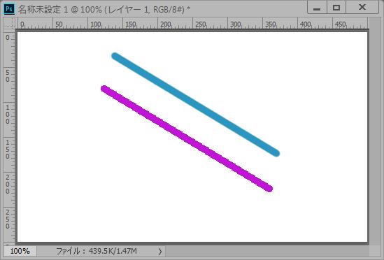 Photoshop CC 「ブラシツール」「鉛筆ツール」で直線を引く方法