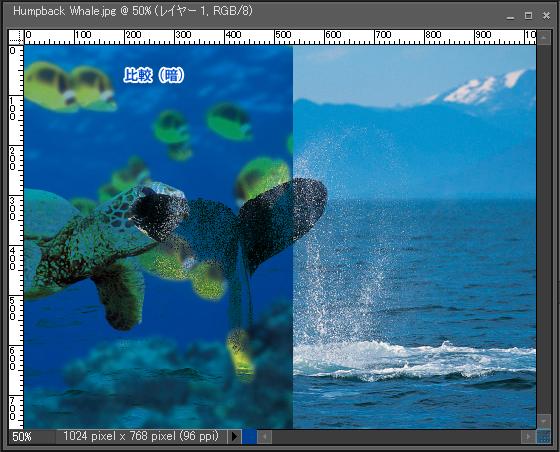 Adobe Photoshop Elements7 操作マニュアル(使い方)アドビ フォトショップ エレメンツ7-レイヤーパレットの描画モードを変更すると3