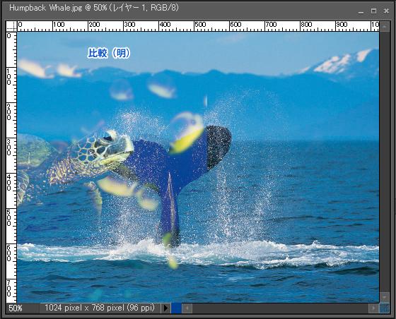 Adobe Photoshop Elements7 操作マニュアル(使い方)アドビ フォトショップ エレメンツ7-レイヤーパレットの描画モードを変更すると8