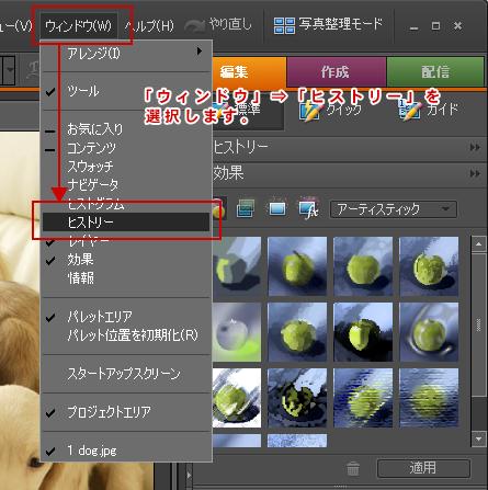 Photoshop Elements(フォトショップエレメンツ)-ヒストリーパレット