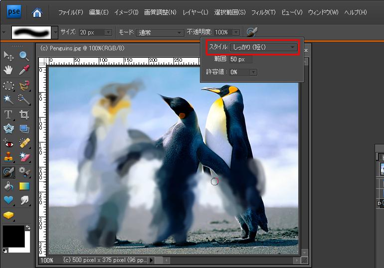 Photoshop Elements(フォトショップエレメンツ)-印象派ブラシツール