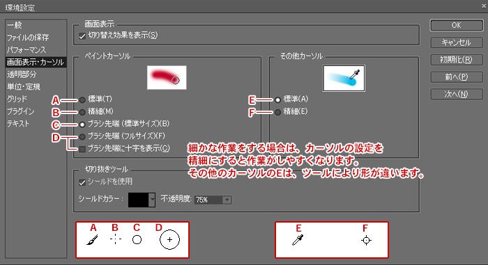 Photoshop Elements(フォトショップエレメンツ)-環境設定:画面表示・カーソル