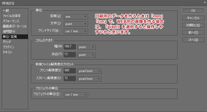 Photoshop Elements(フォトショップエレメンツ)-環境設定:単位・定規