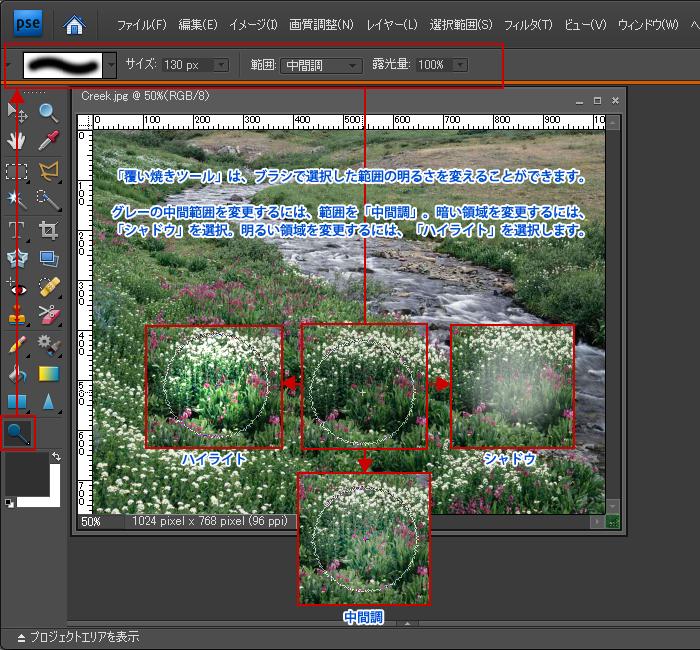 Photoshop Elements(フォトショップ エレメンツ)覆い焼きツール