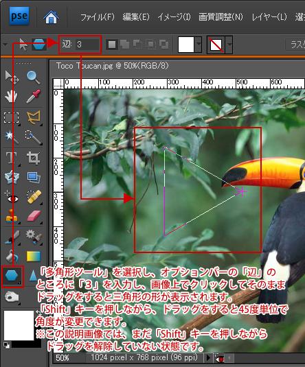 Photoshop Elements(フォトショップエレメンツ)-多角形選択ツール