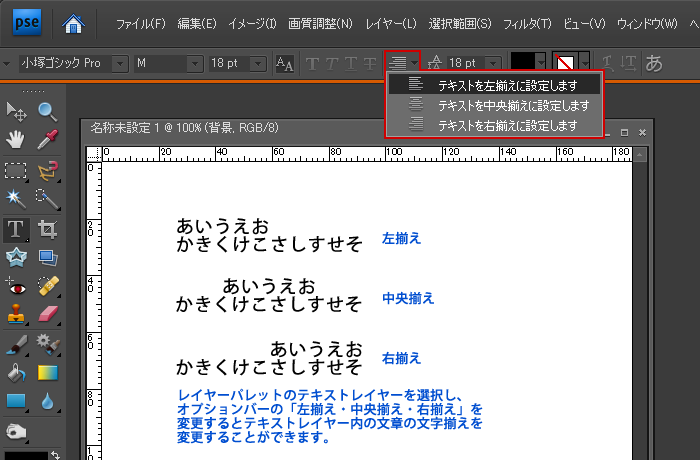 Photoshop Elements(フォトショップエレメンツ)-文字ツールのオプション設定